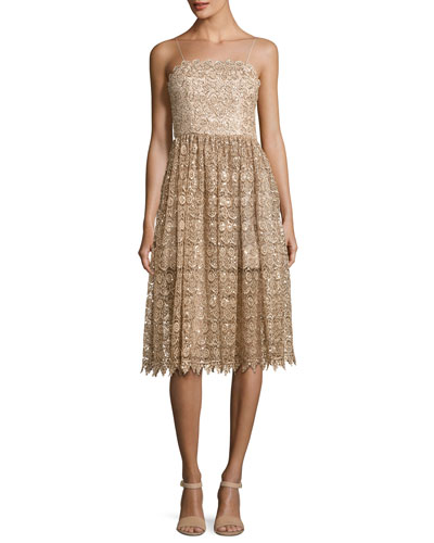 Alma Embellished Mid-Length Lace Party Dress