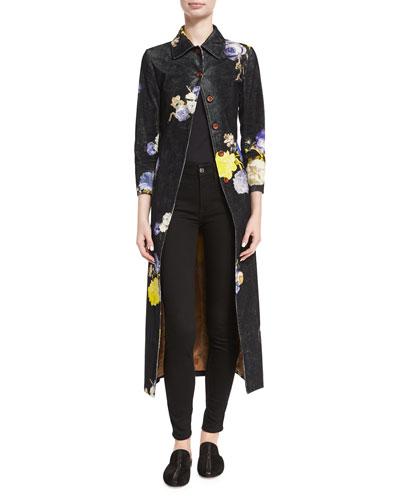 Okki Floral-Print Bracelet-Sleeve Coat