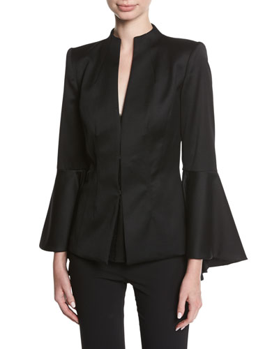 Ivana Mock-Neck Waterfall-Sleeve Wool Blazer