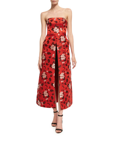 Jeri Strapless Floral-Print Romper W/ Overskirt