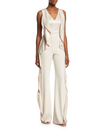 Sarandon Side-Ruffle Satin Jumpsuit