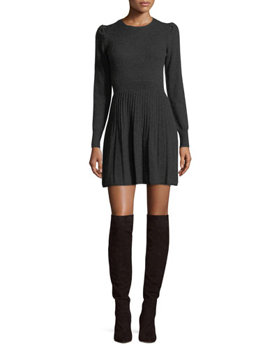 Peronne B Crewneck Long-Sleeve Wool-Cashmere Dress