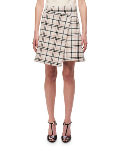 Plaid A-line Skirt W/ Asymmetric Hem