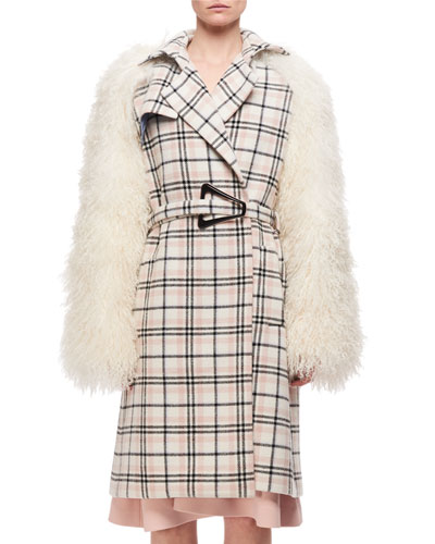 Plaid Belted Top Coat W/ Fur Sleeves, Multi Pattern