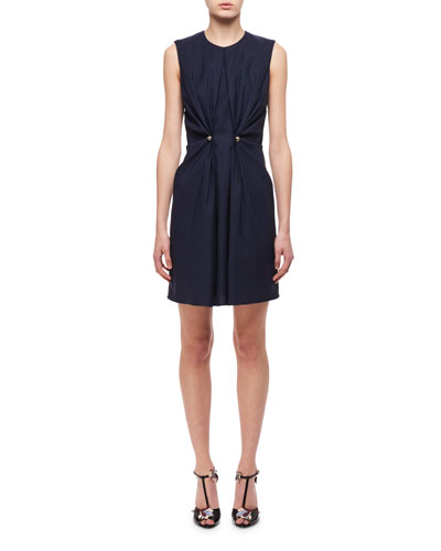 Jewel-Neck Ruched Dress W/ Studs, Navy