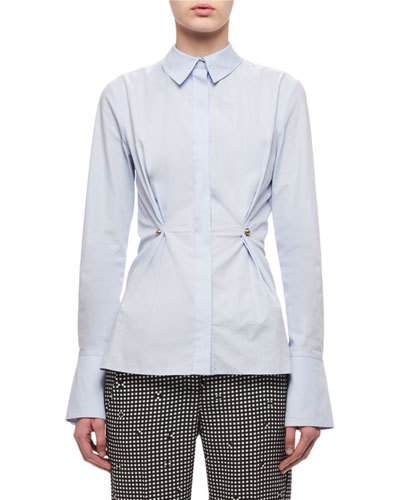 Button-Front Oxford Shirt W/ Stud, Light Blue