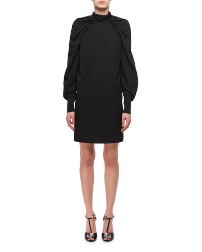 Draped Blouson-Sleeves Sheath Dress, Black
