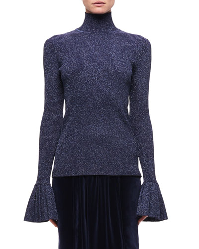 Metallic Wool-Blend Sweater, Navy