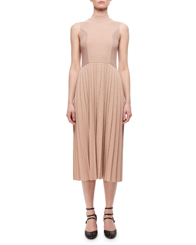 Pleated Metallic Wool-Blend Sleeveless Dress, Blush