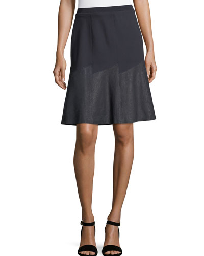 Becky Paneled Mixed-Media Skirt