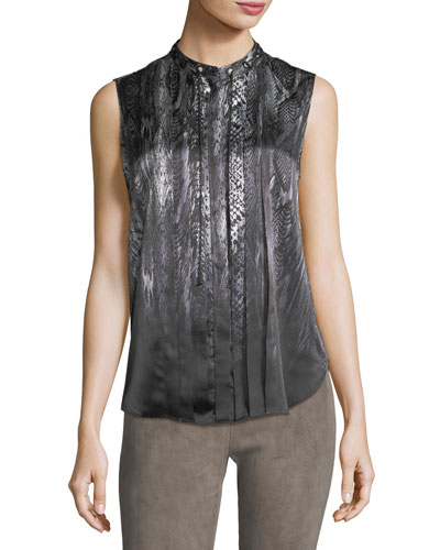 Terri Sleeveless Pleated Snakeskin-Print Silk Blouse