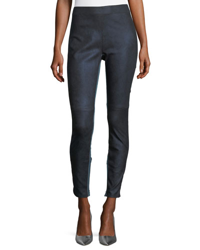 Roxanna Skinny Denim-Effect Leather Pants