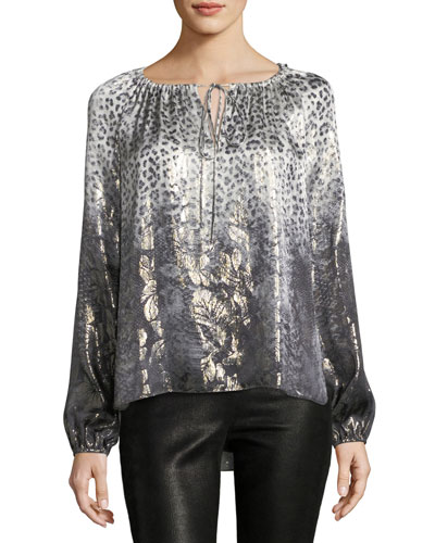 Mariella Long-Sleeve Metallic Silk-Blend Blouse