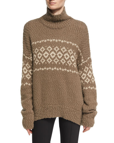 Fair Isle Turtleneck Pullover Sweater, Brown