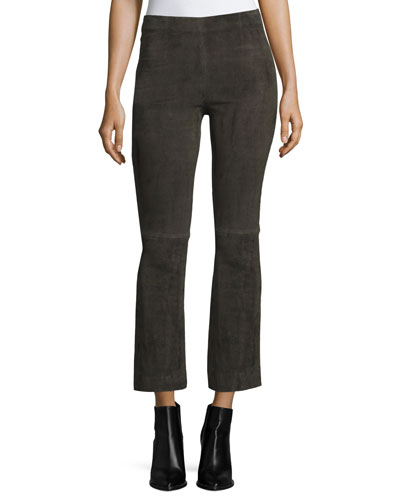 Stretch-Suede Flared Crop Pants