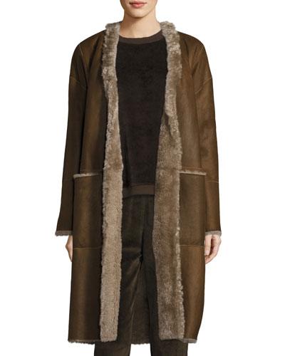 Reversible Elongated Reversible Shearling Coat