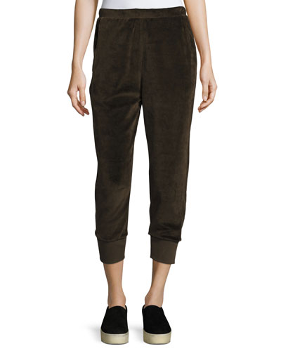 Velour Suede Cuffed Jogger Pants