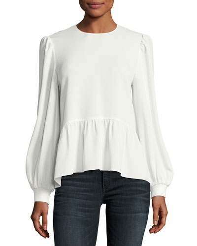 Sav Jewel-Neck Drop-Waist Long-Sleeve Top