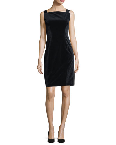 Evra Square-Neck Velvet Dress w/ Leather Shoulder Straps