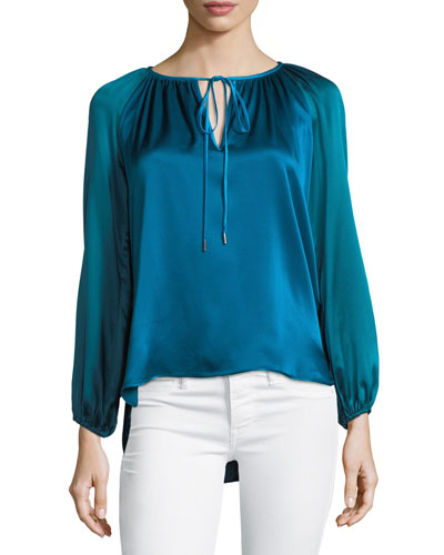 Mariella Colorblocked Silk & Velvet Blouse