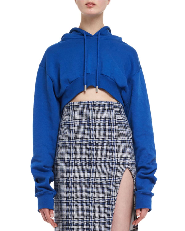 Cropped Cotton Hoodie Sweatshirt