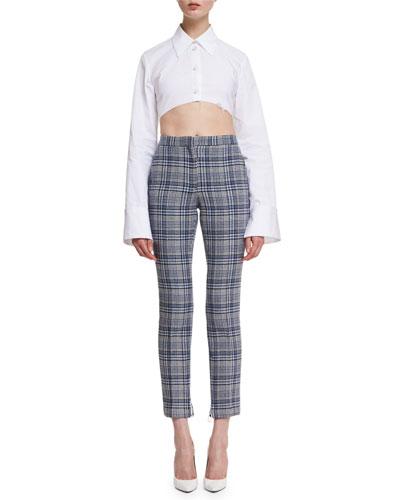 Cropped Plaid High-Waist Pants