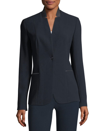 Tori Leather-Trimmed Crepe Blazer Jacket
