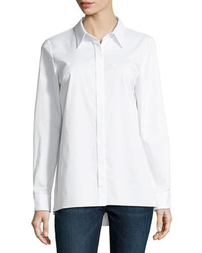 Needra Button-Front Lurex®-Trimmed Blouse