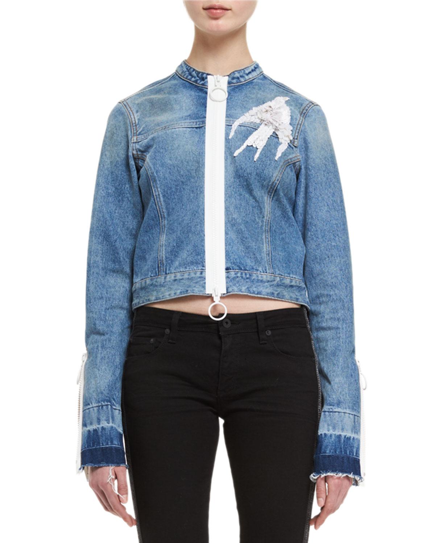 Bird-Embroidered Denim Jacket