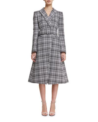 Plaid A-Line Wrap Coat