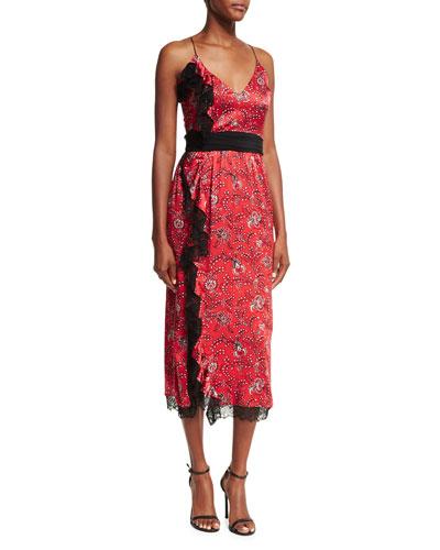 Petra Sleeveless Faux-Wrap Silk Dress W/ Lace Trim