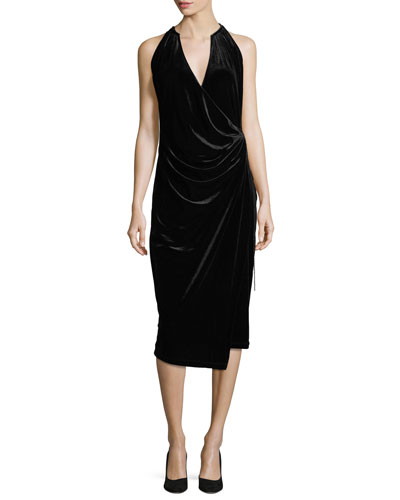 Belecia Sleeveless Faux-Wrap Velvet Dress, Black