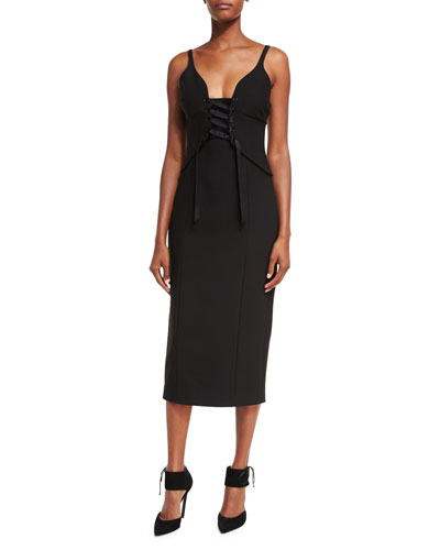 Demia Sleeveless Bustier Ponte Midi Dress