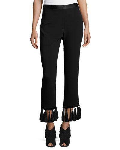 Tash Tassel-Hem Straight-Leg Pants
