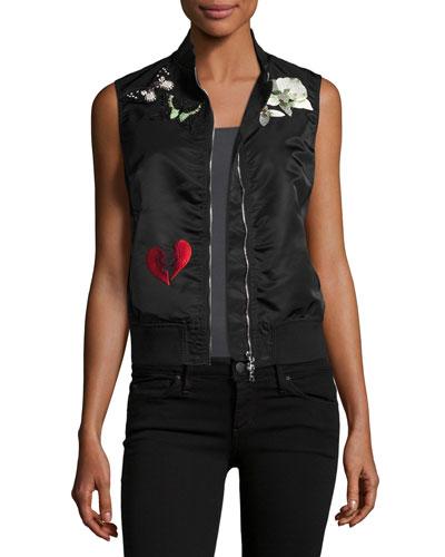 Kingston Embellished Sateen Vest, Black