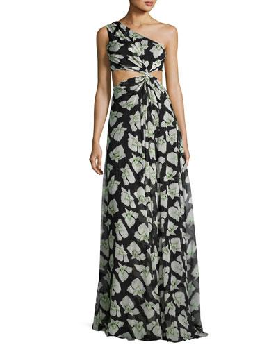 Goldie Floral-Print One-Shoulder Maxi Dress, Black