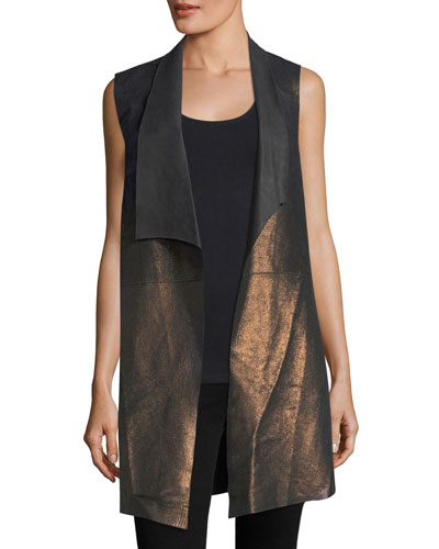Damina Long Metallic Leather & Jersey Vest