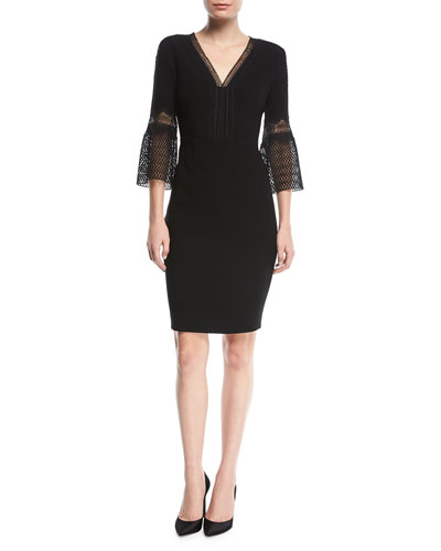 Shaheena 3/4-Sleeve Lace-Trim Dress