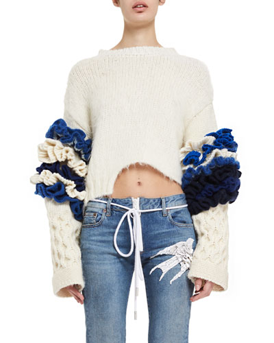 Brain Cropped Ruffle-Sleeve Sweater