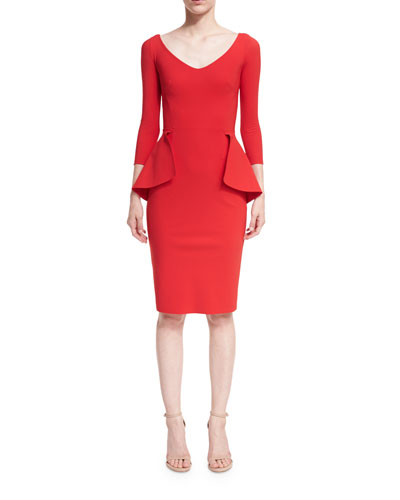 Cheyenne 3/4-Sleeve V-Neck Peplum Cocktail Dress