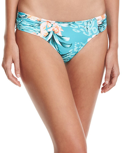 Pacifico Ruched-Side Retro Swim Bottoms