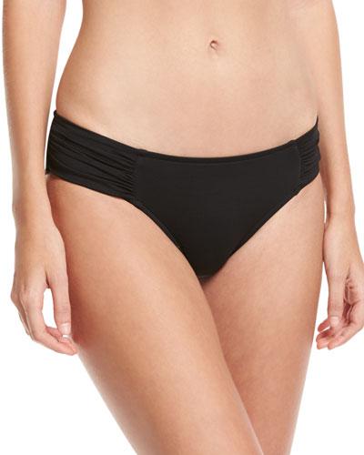 Ruched-Side Retro Swim Bikini Bottom