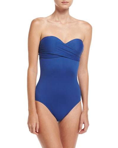 Wrap-Front Sweetheart Maillot Swimsuit, Blue