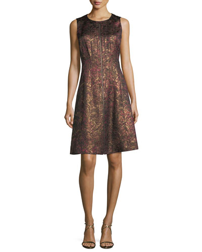 Sleeveless Brocade Zip-Front Dress