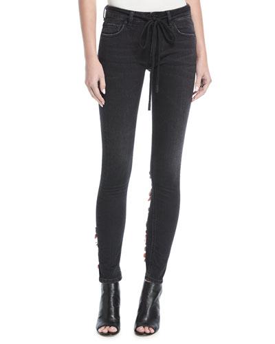 Diagonal-Striped Denim Jeans in Vintage Black