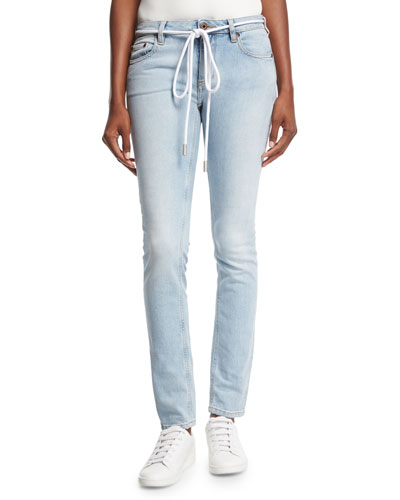 Diagonal-Striped Denim Jeans