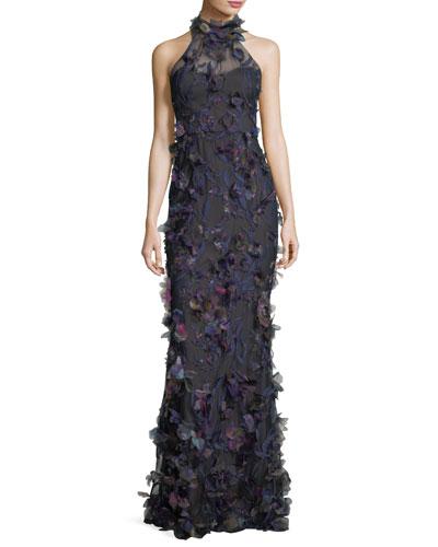 3D Petal-Embellished Halter Gown