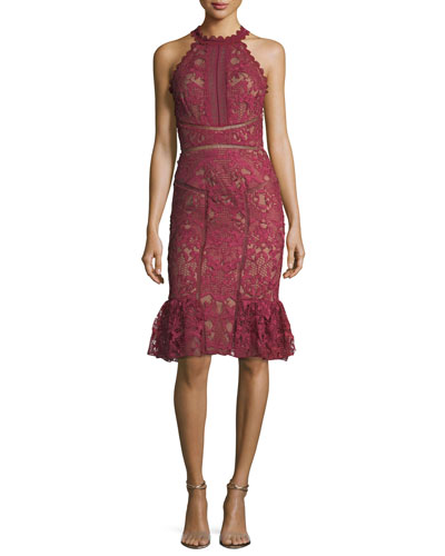 Lace Ruffle-Hem Halter Cocktail Dress