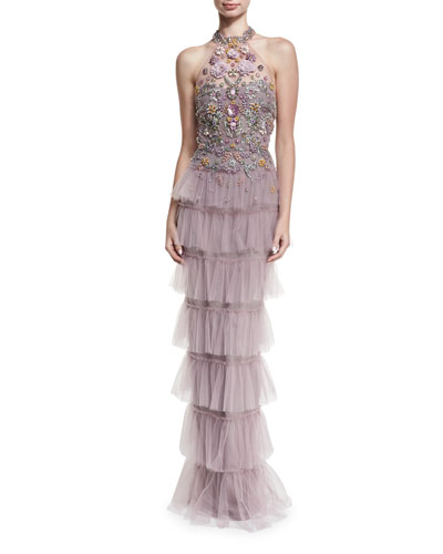 Jeweled Tulle Halter Gown
