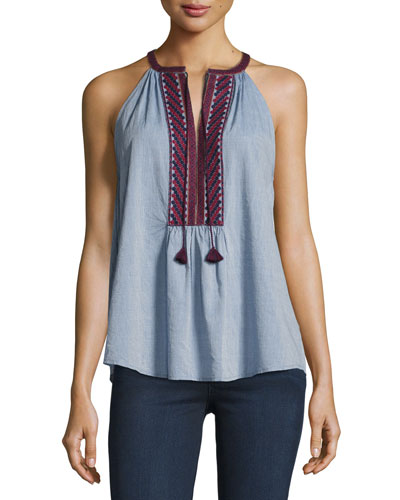 Eniko Q Sleeveless Embroidered Top
